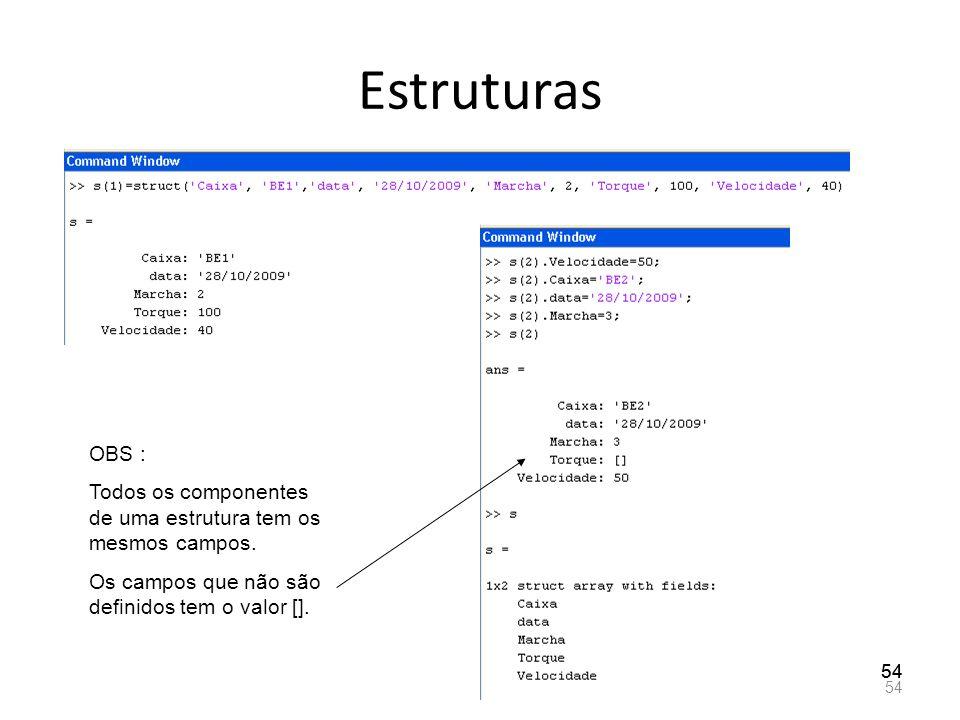 Estruturas OBS : Todos os componentes de uma estrutura tem os mesmos campos. Os campos que não são definidos tem o valor [].